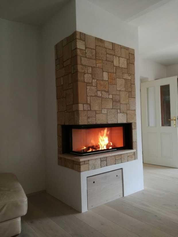 Eck-Kamin als Wärmespeicher
